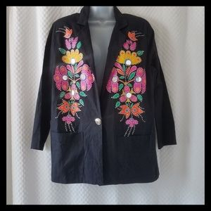 Vintage Mom Small Blazer jacket Glitter Paint